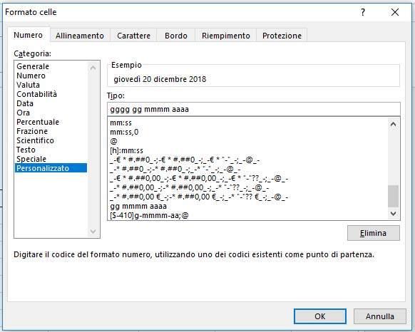 Formato personalizzato di una data Excel