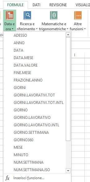 Gruppo di funzioni DATA e ORA