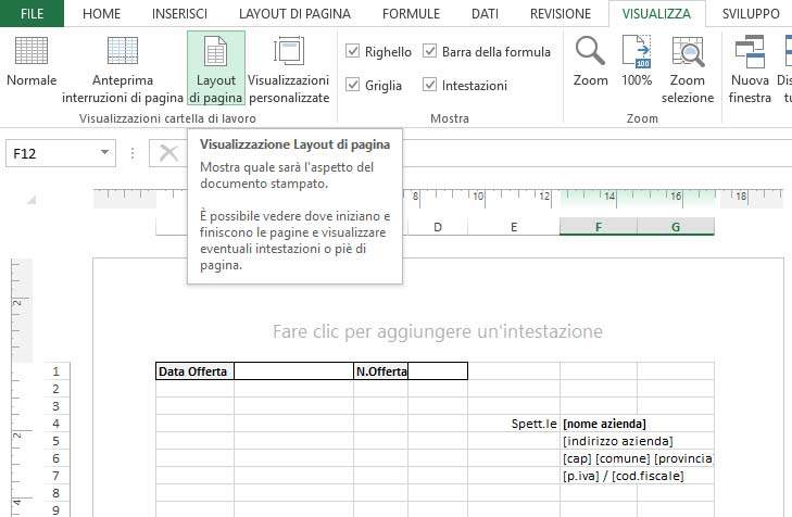 Visualizzazione Layout di Pagina