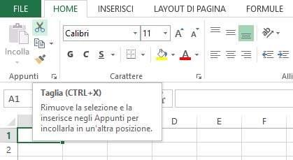 Descrizione scorciatoie tastiera Excel
