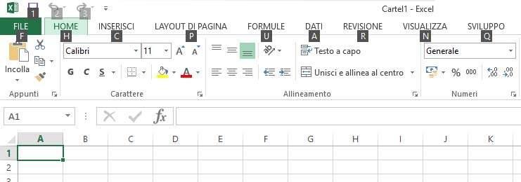 Combinazioni tastiera Excel per il tasto ALT