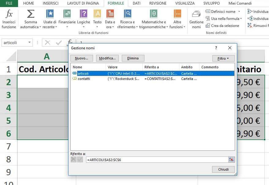 Modificare / Eliminare nome intervallo celle