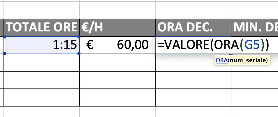 Come si utilizza la funzione ORA per convertire ore in numeri