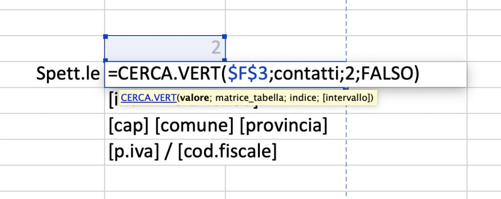 Esempio di funzione CERCA.VERT 1