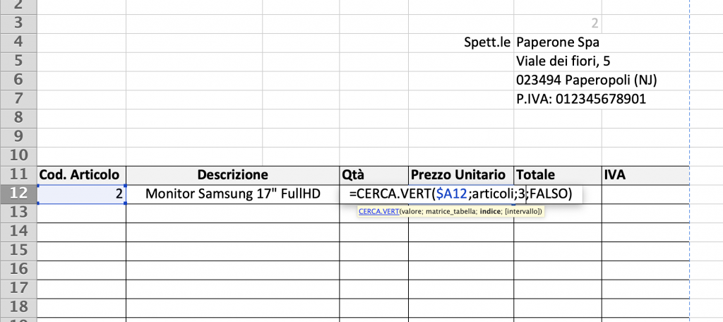 Esempio di funzione CERCA.VERT 3