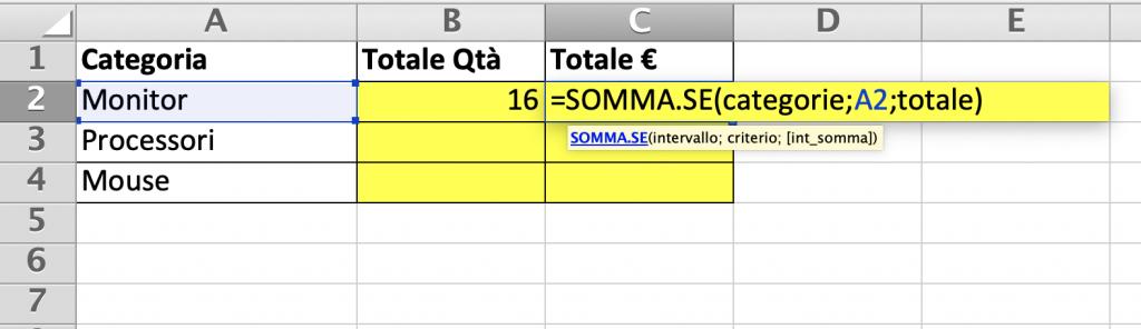 Riepilogo per valore complessivo con la funzione somma.se
