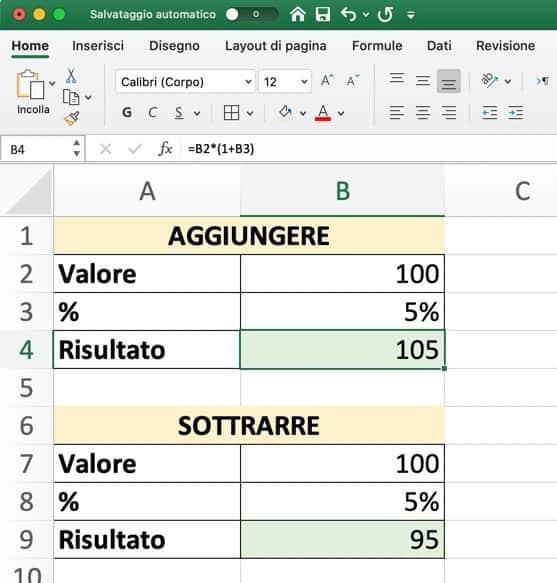 Formule di Excel per il calcolo percentuale