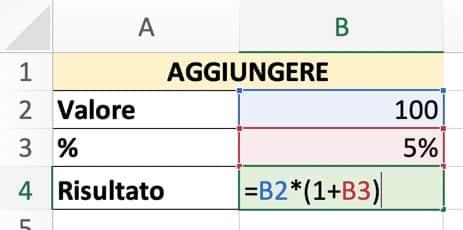 Formula per aggiungere una percentuale