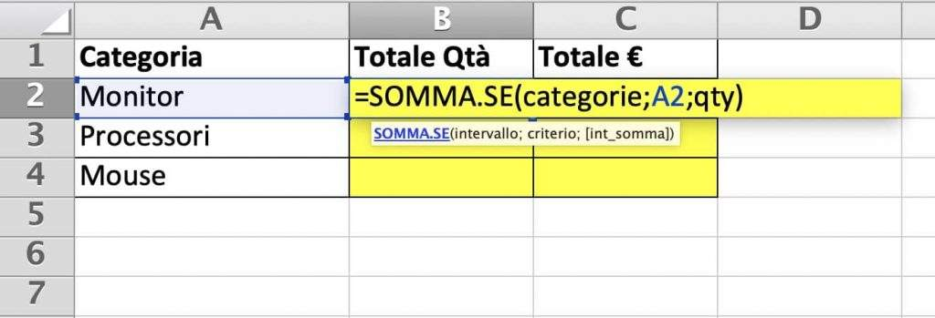 Riepilogo per quantità con la funzione somma.se