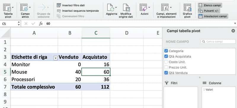 Report di Tabella Pivot per formula in campi calcolati