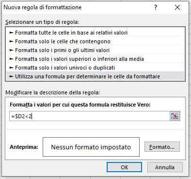 Regola e formula di formattazione condizionale