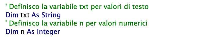 Esempio di dichiarazione variabili VBA per testo e numeri