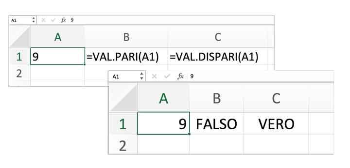 Numeri pari e dispari in Excel