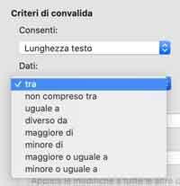 Criteri per lunghezza testo