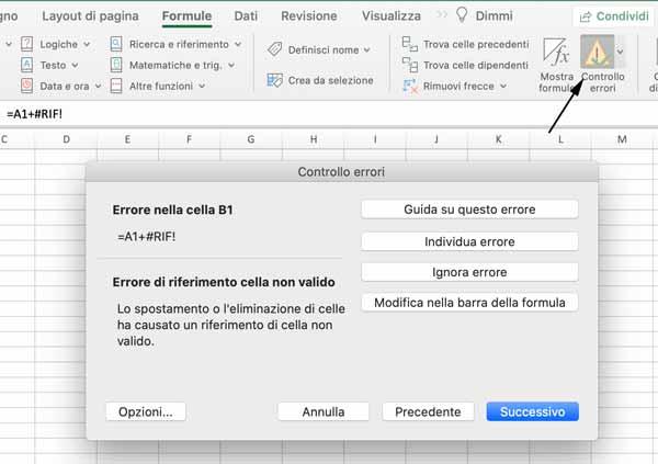 Strumento Controllo errori di Excel