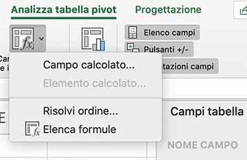 Come inserire un campo calcolato nella tabella pivot