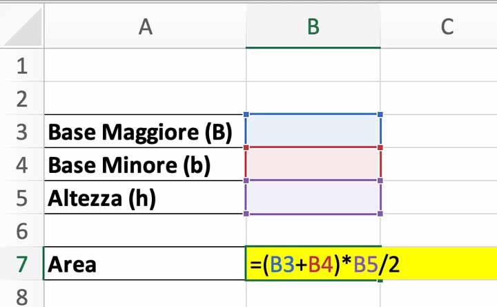 Formula finale per il calcolo dell'area di un trapezio in Excel
