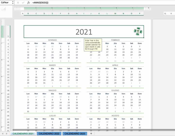 Modello di Calendario 2021 Excel