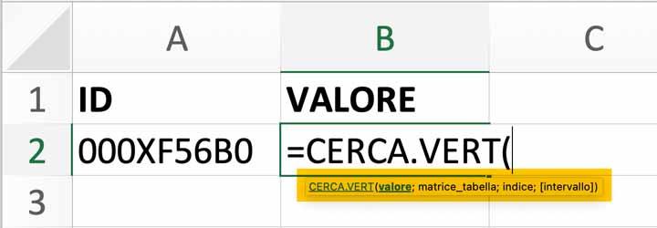 CERCA VERT: argomenti della funzione di Excel