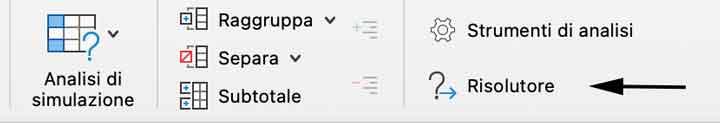 Risolutore Excel nella scheda dati